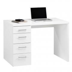 Bureau blanc 4 tiroirs - vue de 3/4 - ELIOTE