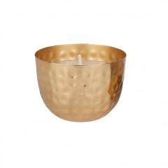 Bougie avec bol en métal martelé doré - objet décoratif à poser - LUMEN