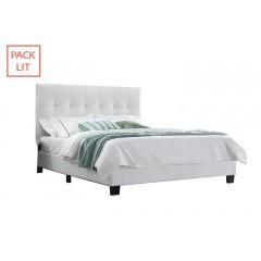 Pack Lit double simili blanc + matelas 160X200 - BIANCA