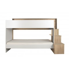 Ensemble lits superposés 90x200 + tiroir blanc et décor chêne - COMBI