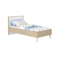 Lit décor chêne beige et tête de lit blanche - vue de côté - SCANDI