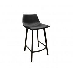 Chaise de bar simili cuir & métal noir - FUN