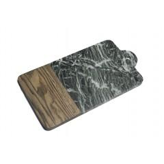 Planche à découper en bois de frêne et marbre vert L.35 cm - PILO