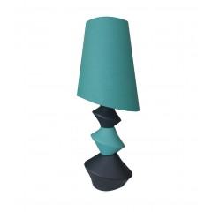 Luminaire 78 cm bleu et noir abat-jour turquoise - GALET