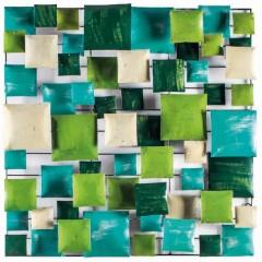 Décoration murale en métal peint vert/turquoise à suspendre - GREENY