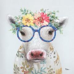 Peinture sur toile cadre décoratif vache à lunette - TATI