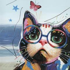 Peinture sur toile cadre décoratif chat à lunettes - ALICIA