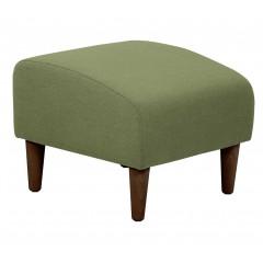 Tabouret carré en tissu vert avec pieds en bois - LEGGY