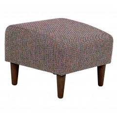 Tabouret carré en tissu chiné multicolore avec pieds en bois - LEGGY