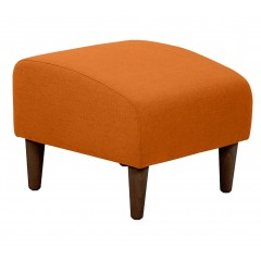 Tabouret carré en tissu orange avec pieds en bois - LEGGY