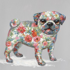Peinture sur toile cadre décoratif chien fleuri - PISTOUILLE