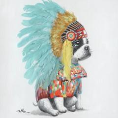 Peinture sur toile tableau chien déguisé - BOUBOU