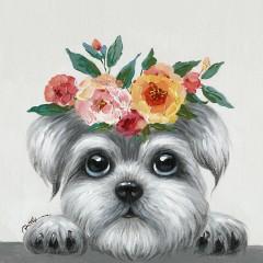 Peinture sur toile cadre décoratif chien couronne fleuri - YORKY