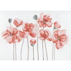 Peinture sur toile cadre décoratif fleurs rouges - NACARAT