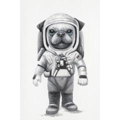 Peinture sur toile cadre décoratif chien astronaute - COSMO