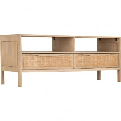 Meuble TV 2 tiroirs en manguier & cannage - ECUEIL 704