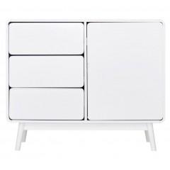 Buffet compact blanc avec 1 porte et 3 tiroirs - vue de face - AUBUN 686
