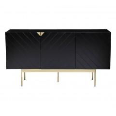 Buffet 166 cm noir avec 3 portes motifs chevrons et pieds métal doré - CABRI 888