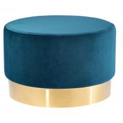 Pouf rond en velours bleu et acier doré diamètre 55 cm - AUVE 544