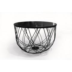 Table basse ronde filaire en métal noir avec plateau amovible rangement - FIL