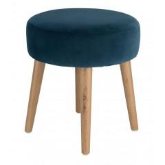 Tabouret rond en velours bleu avec pieds en bois - PLUME
