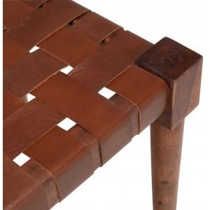 Tabouret tressé en cuir marron avec pieds en bois - SPART 7346