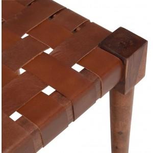 Banc tressé en cuir marron avec pieds en bois longueur 122 cm - DELES