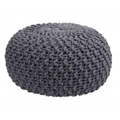 Pouf rond en coton tressé gris diamètre 50 cm effet tricot - CESAR