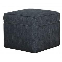 Pouf carré en tissu bleu chiné effet jean - style vintage - BARTHOLE