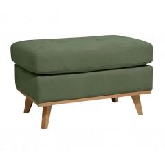 Pouf rectangulaire en tissu vert avec pieds en bois - style scandinave - PICABIA