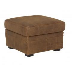 Pouf coffre carré marron en croûte de cuir vieillie - rangement style vintage - CUBA