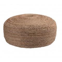 Pouf rond en jute naturelle tressée diamètre 50 cm - style bohème - NAIA