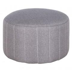 Pouf rond en tissu gris clair diamètre 60 cm - style moderne - SHELL