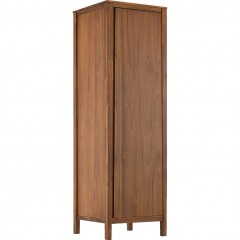 Armoire 1 porte en bois d'acacia avec 1 tablette et une penderie - THAO