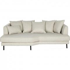 Canapé 3 places fixe en tissu beige - TESSOUN