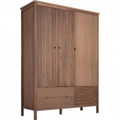 Armoire en bois strié marron avec 4 tiroirs et penderie - CRUZ 325
