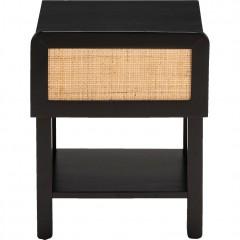 Table de chevet en bois noir et cannage de rotin - vue de face - GALANT 920