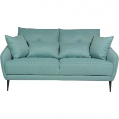 Canapé fixe 2 places en tissu vert d'eau  - DOME