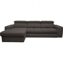 Canapé d'angle gauche convertible en tissu - gris anthracite -  TONIN