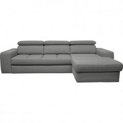Canapé d'angle droit convertible en tissu - gris clair - TONIN 546