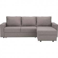 Canapé d'angle réversible convertible en tissu gris - FERNAND