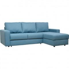 Canapé d'angle réversible convertible en tissu bleu - FERNAND