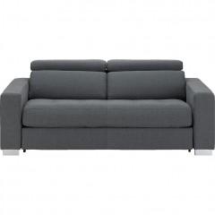 Canapé 3 places convertible en tissu gris anthracite  - MAURO