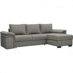 Canapé d'angle convertible en tissu gris et 4 poufs - CHARLES