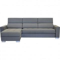 Canapé d'angle réversible convertible en tissu gris - MAURO 623