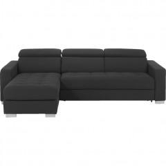 Canapé d'angle réversible et convertible 3 places en tissu gris anthracite - vue de face - MAURO 574