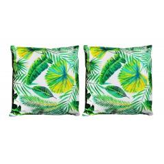 Lot de 2 coussins carrés 40 cm en tissu motifs feuillage vert jaune - Tropical