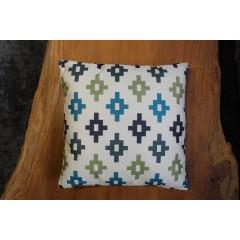 Coussin carré 40 cm en tissu beige motifs géométriques - Tetris