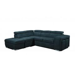 Canapé d'angle convertible gauche et coffre de rangement coloris bleu - DALLAS