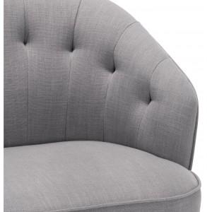 Canapé bas 2 places capitonné arrondi en tissu style rétro - MARCELLIN